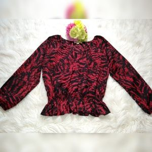 MICHAEL KORS  PEASANT RED & BLACK BLOUSE SIZE XL